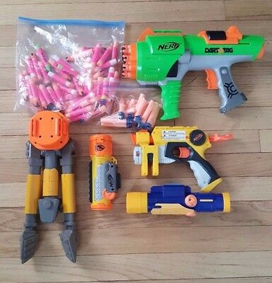 Misc. Lot of Nerf Guns, Darts, and Accessories - Humans vs. Zombies - Pre-owned