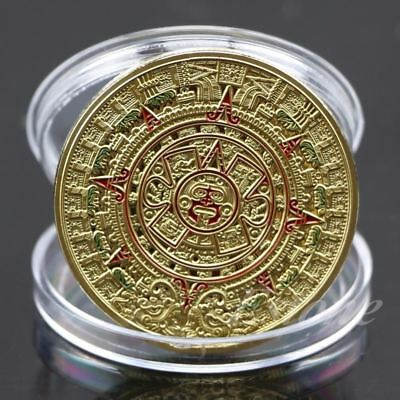 VERY COOL GOLD SILVER PLATED Mayan Aztec Prophecy Calendar Commemorative Coin