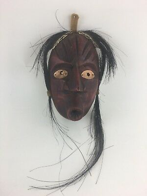 Vintage Native American Red Copper Wood False Face Mask Horse Hair Wall Hanging