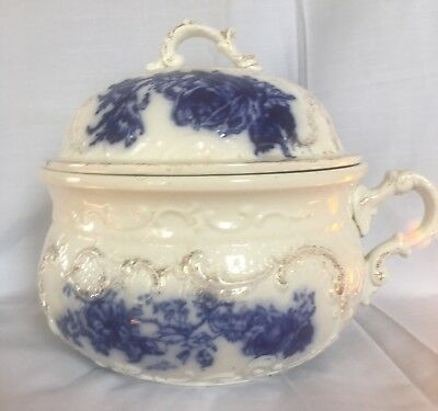 Antique Chamber Pot Made In England Porcelain Blue & White