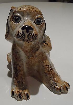 Rye Pottery England Very Rare Old 16cm Cute Puppy Dog by David Sharp FREE P&P UK
