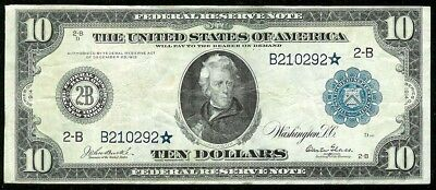 1914 *Star Usa $10 Dollar Federal Reserve Of New York Bank Note Fr. #909*