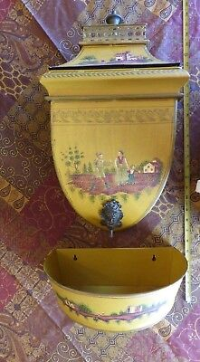 Antique/Vint Hand Painted Chinoiserie 3 Piece Tole Metal Decorative Wall Lavabo