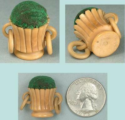 Tiny Antique Carved Vegetable Ivory Pin Cushion * Circa 1890