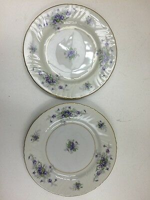 Johann Haviland Violets Pair Of Bread-And-Butter Plates Gold Trim Jl062517 A