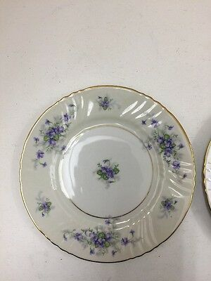 Johann Haviland Violets Pair Of Bread & Butter Plates With Gold Trim Jl062717A