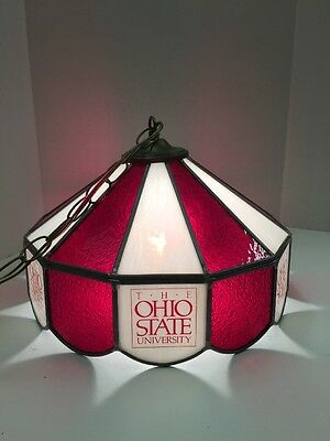 The Ohio State University Stained Glass Hanging Lamp Vintage Jl052617 A