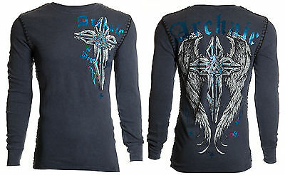 ARCHAIC by AFFLICTION Mens THERMAL Whipstitch T-Shirt FERAL Cross Biker $58