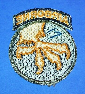 RARE ORIGINAL POST WW2 GERMAN MADE 17th AIRBORNE DIVISION PATCH & ATTACHED TAB!
