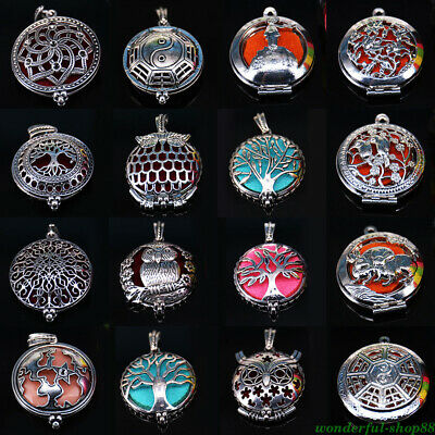 43 Styles Carved Aromatherapy Diffuser Locket Pendant Necklace DIY Decor Acces