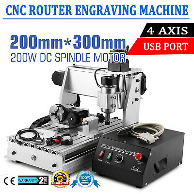 4 Axis 3020T CNC Engraving Machine USB Engraver Cutter Function Router CE PASSED