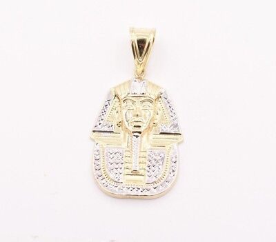 "2"" Pharaoh Egyptian King Diamond Cut Pendant Real 10K Yellow White Gold"