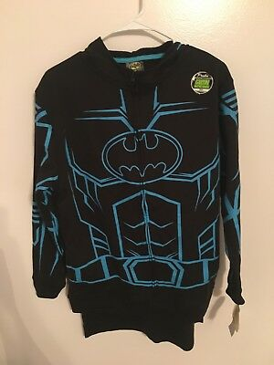 NEW Boys Batman Hooded Sweatshirt Hoodie Glow in Dark Cape Mask Black Blue XL