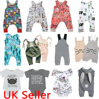 UK Newborn Infant Baby Boy Girl Summer Clothes Bodysuit Romper Jumpsuit Outfits