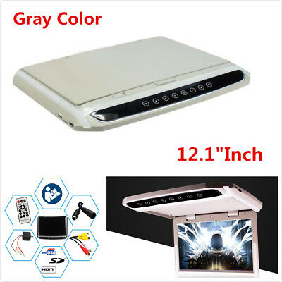 12 Inch Car Roof Overhead Flip Down LED HD Monitor USB HDMI MP4 MP5 Video Player