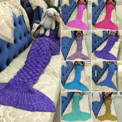 Kid/Adult Fish Scales Mermaid Tail Blanket Handmade Knitted Crocheted Quilt UK