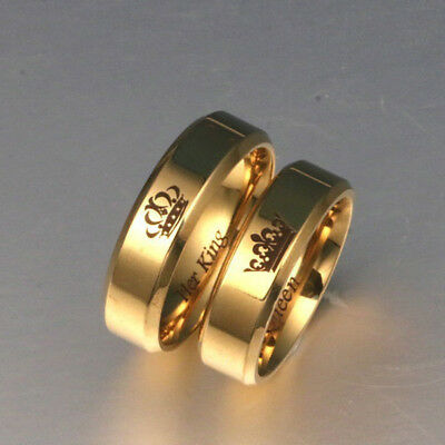 His Queen And Her King Titanium Steel Couple Ring Lovers Gift Jewelry Fitted