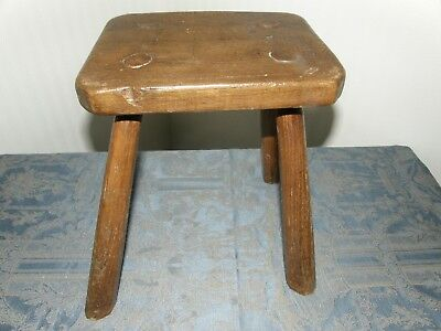 Primitive Antique Oak Wood  Milking Stool Handmade.