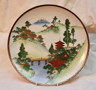 Antique Vintage Japanese Satsuma Pottery Charger Hand painted Landscape Signed