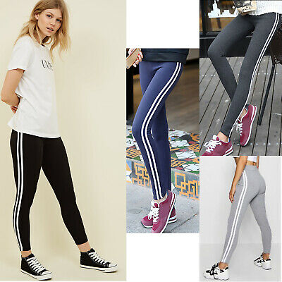 b8016ff3ee WOMENS JOGGERS TROUSERS STRIPES Ladies Tracksuit Bottom Jogging Gym Pants  Lounge