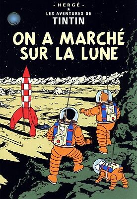 Tintin On a Marche sur La Lune Stretched Canvas Wall Art Poster Print