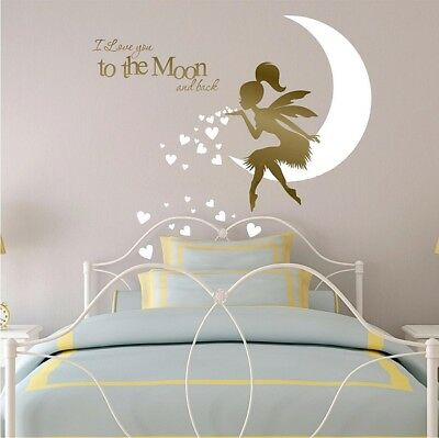 I Love You to the Moon and Back Wall stickers for Children's Fairy Decal Bedroom