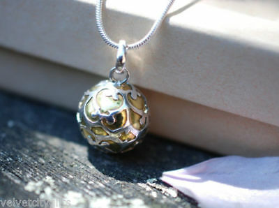 Pregnancy Gift 925 Sterling Silver Mexican Bola with Garnet Extra Long Necklace to reach Bump