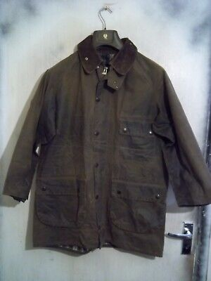 Rare Vintage Barbour Solway Zipper Waxed Jacket Size C40 102Cm