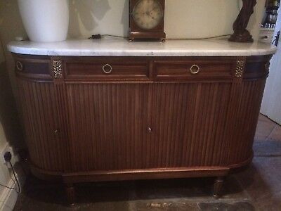 Antique, Louis XVI style marble-topped four door buffet with fluted decoration