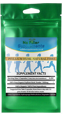 Organic Psyllium Husk Vegetable Capsules IBS Natural Fibre Appetite Suppressant