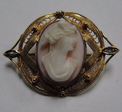 10k Yellow Gold Cameo Pin Brooch .417 Jewelry #LC-SCP11T