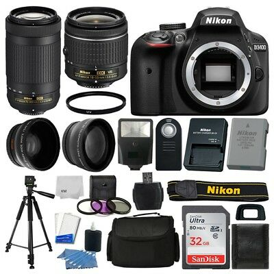 Nikon D3400 Digital SLR Camera 32GB 4 Lens Kit: 18-55mm VR + 70-300mm Best Value