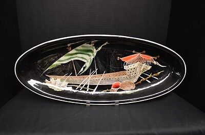 Vintage Quimper Mid Century Oval Tray by Guy Trévoux