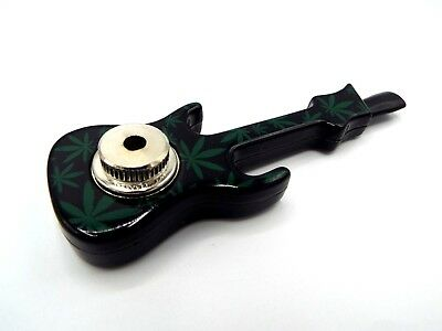 Metal Smoking Pipe Green Leaf Guitar Smoking Pipe with Lid and Screens