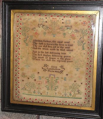 "Antique 1820 FRAMED  19 1/2"" x 21"" SAMPLER Lancashire ENGLAND A. RAMSBOTTOM"