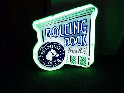 ROLLING ROCK Beer Two Color Neon Sign Light up Game Room Man Cave Hamms