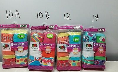 Girls brand new fruit of the loom  6 pairs hipsters size 10, 12 14 you choose