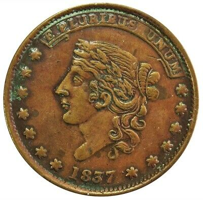 1837 Us Hard Times Not One Cent For Tribute Millions For Defence Token Ht #51