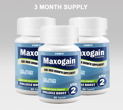 90Day Maxogain Follicle Boost Tablet 3in1 Mens Hair loss MPB Alopecia Thinning