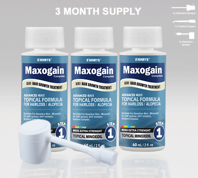 Mens Maxogain 4in1 Minoxidil 5% Topical (3x60mL) Free Shipping