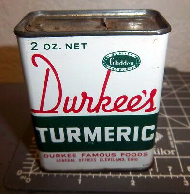 vintage Durkees TURMERIC 2 oz spice tin, great colors & graphics, Cleveland Ohio