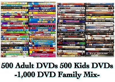 1000 Dvd Lot Assorted 500 Kids Movies Shows Mix 500 Adult Dvd Movies Great Buy 589 95 Picclick
