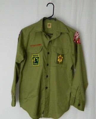 Vintage Boy Scout Uniform 1970s Long Sleeve Shirt Size 14 Forbes Wolf Patches