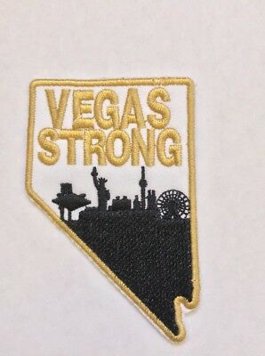 Nevada Vegas Strong Embroidered Gold and Black Iron On Patch