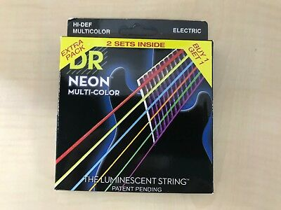 DR Electric Guitar String 2 Set Pack NEON Nickel Plated Multi Color Coated .010