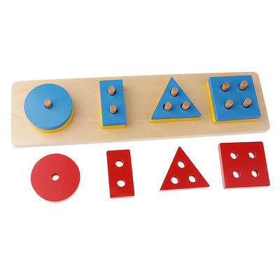 Kids Wooden Geometry Educational Toys Puzzle Montessori Early Learning #7