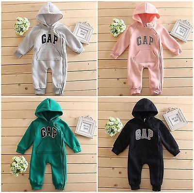 Kids Baby Boys/Girls Warm Infant Romper Jumpsuit Bodysuit Hooded Clothes Outfit