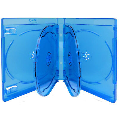20 Pack New 22mm Thick Hold 6 Discs Blu-Ray Blue DVD Movie Case Logo [FREE SHIP]