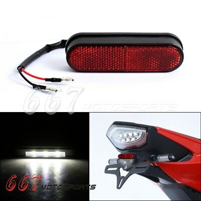 Motorcycle Tail Rear 3 SMD LED License Number Plate Light Lamp w/ Red Reflector