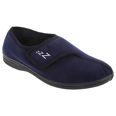 Zedzzz Mens Navy Blue Connor Touch Fastening Velour Slippers UK 6-12 (DF839)